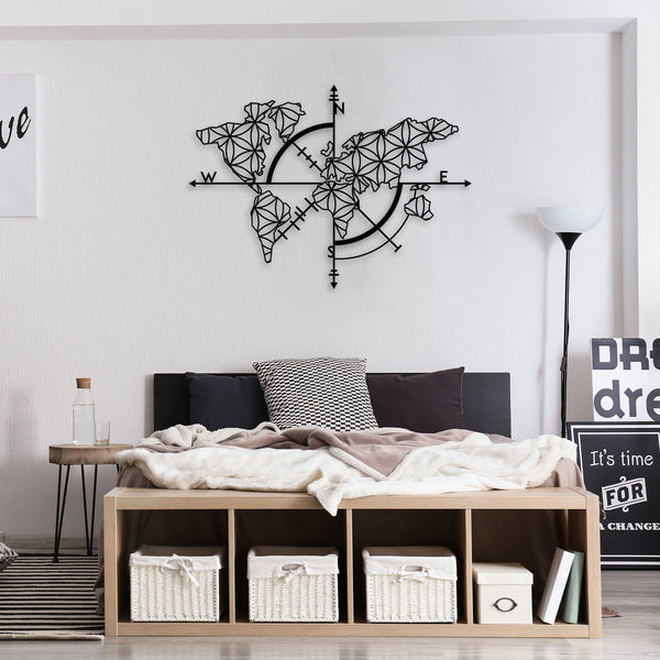 Compass of Living World Map Decor