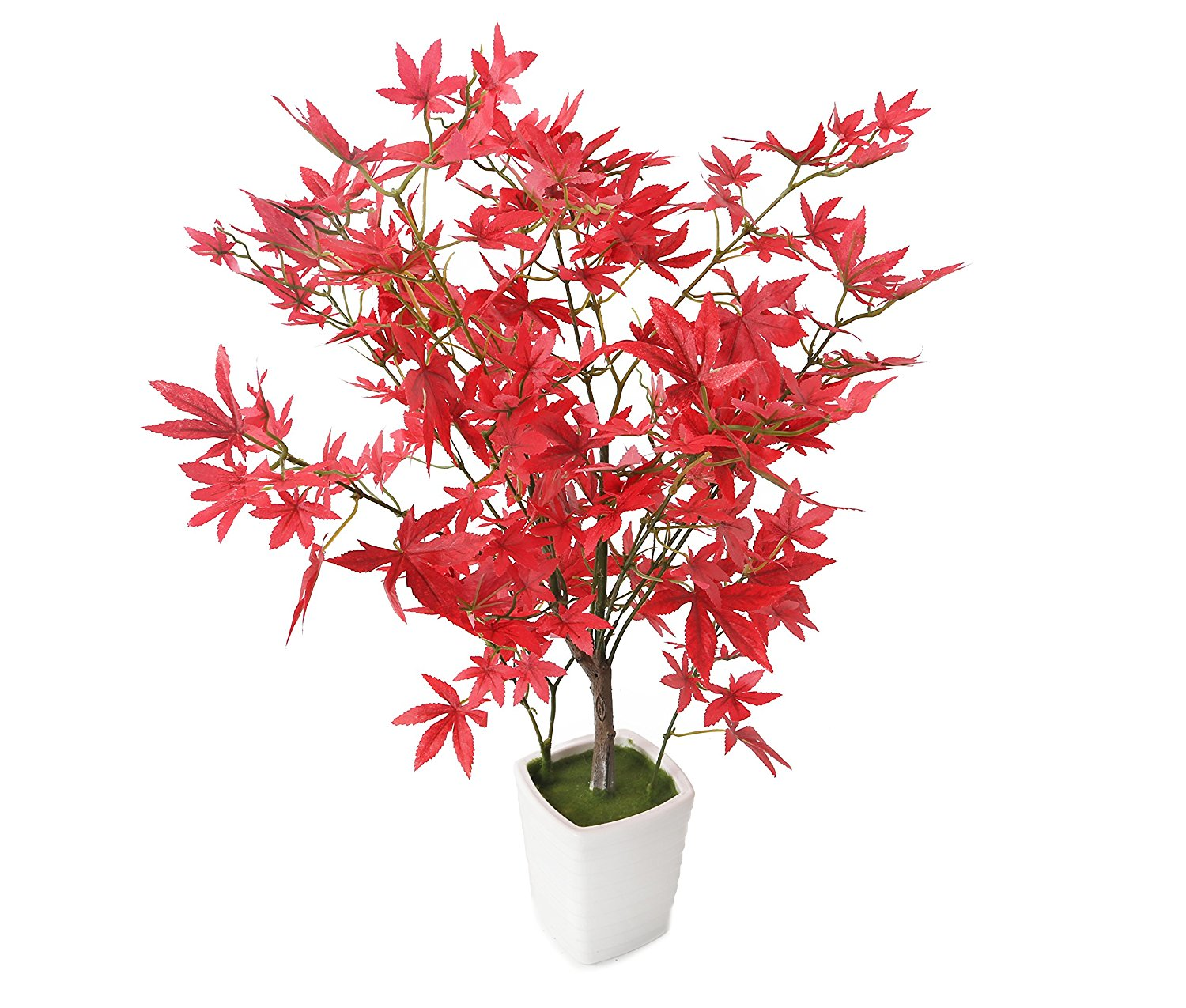 "Closer2Nature Artificial 1ft 7"" Red Japanese Maple Tree in a Decorative White Pot"
