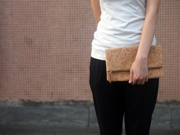 Naturaism Cork Fold Zipper Clutch Handbag 自然主義 軟木手拿包
