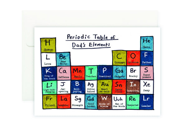 Dad's Periodic Table Card 爸爸元素表我愛爸爸卡 - The Tree Stationery & Co. 大樹文房