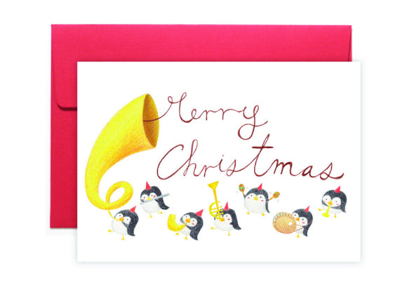 Penguins Sing Christmas Card