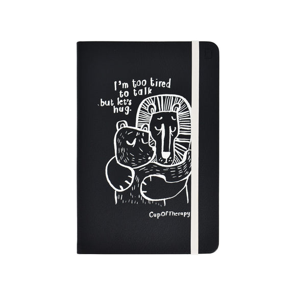 Modena x CupOfTherapy Collection (Design From Finland) A5 Notebook/Ruled - I'm Too Tired to Talk but Let's Hug (Black)