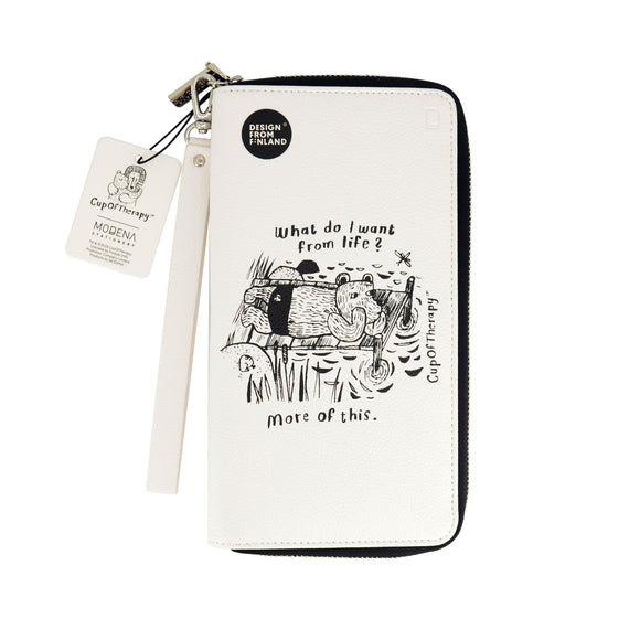 Modena x CupOfTherapy Collection (Design From Finland) Travel Wallet - White Bear