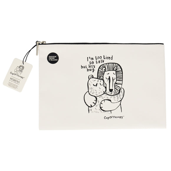 Modena x CupOfTherapy Collection (Design From Finland) Zipper Pouch - I'm Too Tired to Talk, but Let's Hug