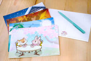 Four Seasons Illustration Printed Postcard 春夏秋冬四季插畫名信片