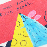 Love at First Sight Postcard 第一眼就愛上老鼠明信片