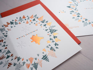 Letterpress Xmas Card - First Snow