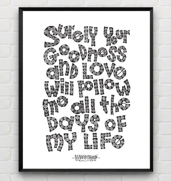 Art print with frame - PSALM 23 6