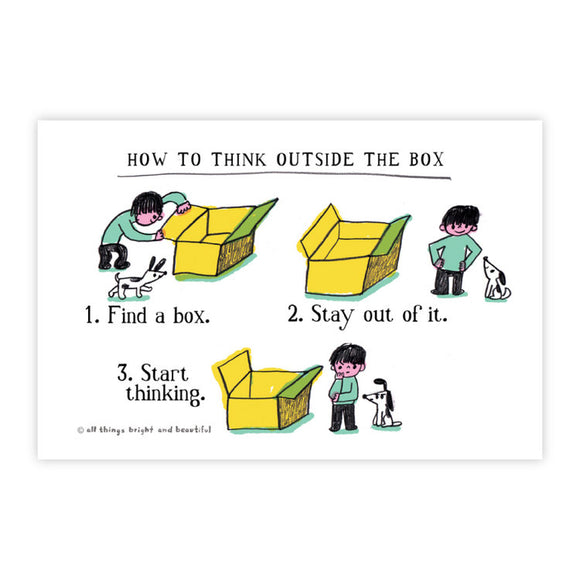 Think Outside the Box Postcard 盒子外思考明信片