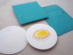 Letterpress Food Notecard - Egg tart