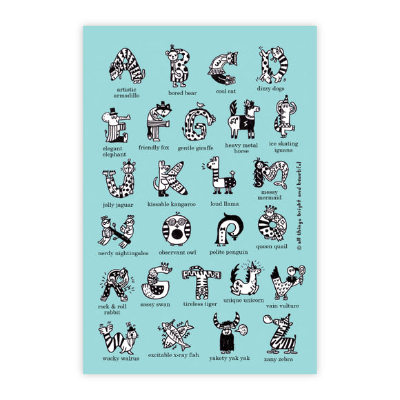 A to Z animals Postcard 英文字母動物明信片 - The Tree Stationery & Co. 大樹文房