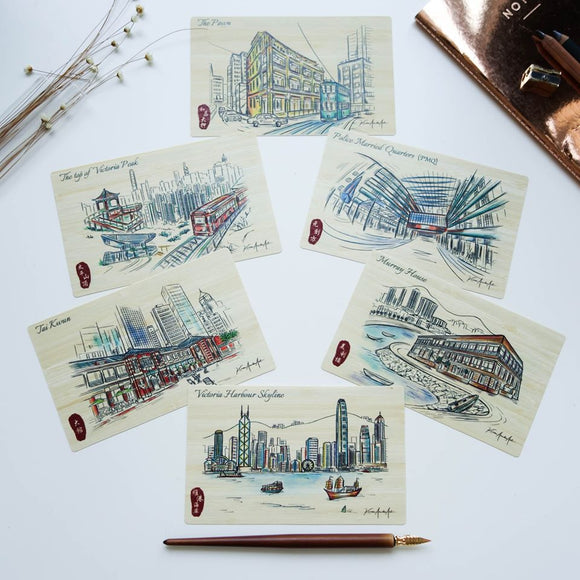 "Hong Kong Sketch Bamboo Postcards ""Hong Kong Island Series"