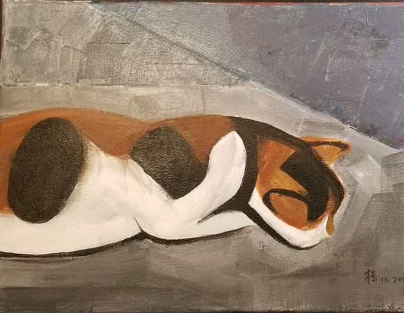 Oil Painting - Calico Cat Series - I Love Sleep