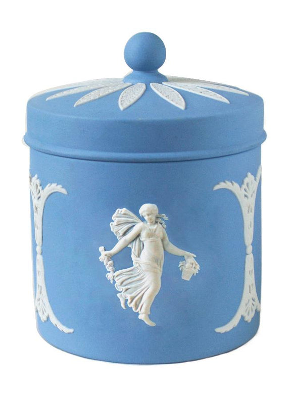 Duo Color Matte Finished Pale Blue and White Jasperware Canister with Ornate Lid