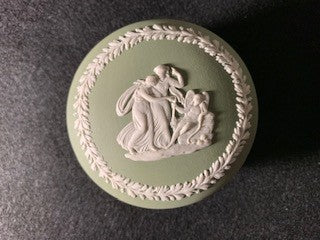 Duo Color Matte Finished Sage Green and White Jasperware Cupcake Shaped Ring Box