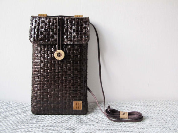 Dark Brown Grass Woven Baguette/Cross Body Bag/Phone Pouch 深啡草織手作斜背包+手機套