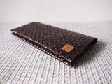 Dark Brown Grass Woven Long Wallet 手造深啡草織長錢包
