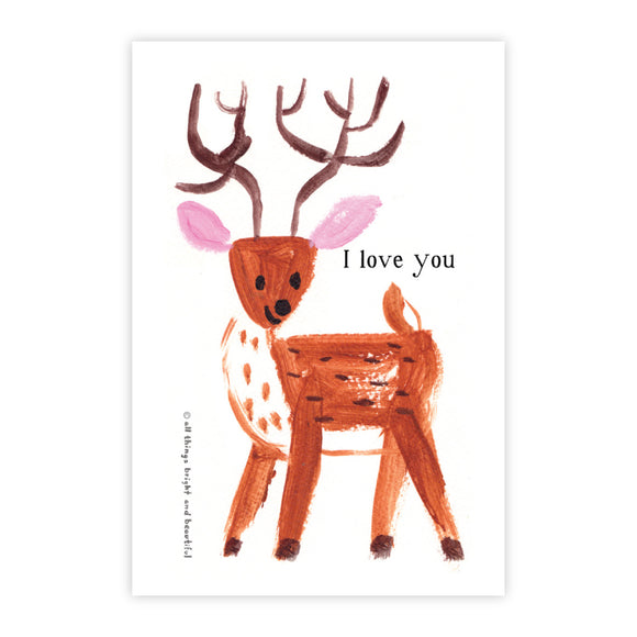 Deer - I Love You Postcard 愛你小鹿明信片 - The Tree Stationery & Co. 大樹文房