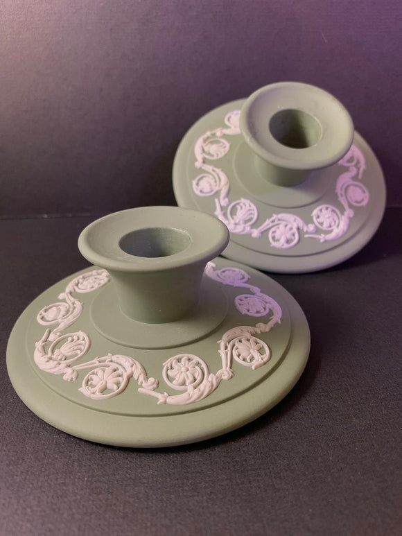 Set of 2 Wedgwood Duo Color Matte Finished Sage Green and White Jasperware Dwarf Candle Holders
