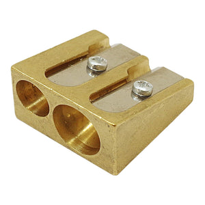 DUX Double Brass Pencil Sharpener - Wedge-shaped