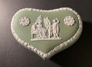 Duo Color Matte Finished Sage Green Jasperware Heart Shaped Box