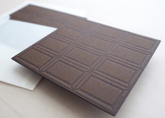 Letterpress Food Notecard - Dark Chocolate Bar