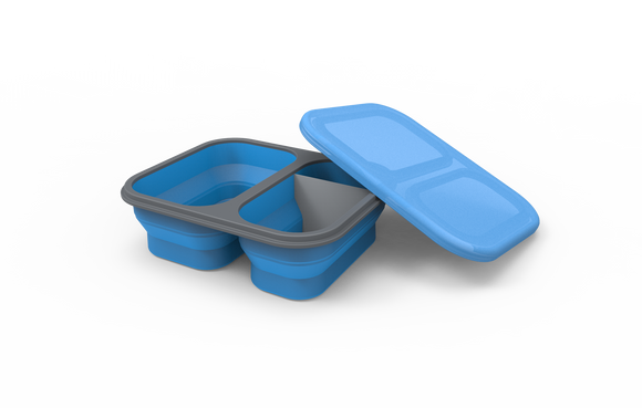 Silicone Collapsible Divider Box (1200 ml) with Eating Utensil Set