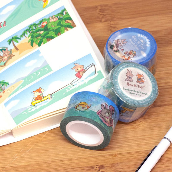Summer Beach Days / Falling Autumn Washi Masking Tape 夏日海灘 / 秋之風景和紙膠帶 (2.5cm x 10m)