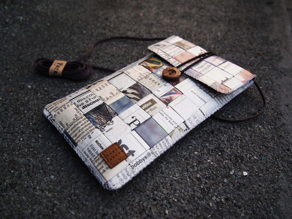 Newspaper Baguette/Cross Body Bag/Phone Pouch 報紙 手作 斜背包 + 手機套