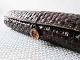 Handmade Dark Brown Grass Woven Pencil Pouch 手造深啡草織筆袋