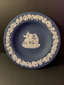 Duo Color Matte Finished Portland Blue and White Jasperware Round Pin Tray with Raised Border