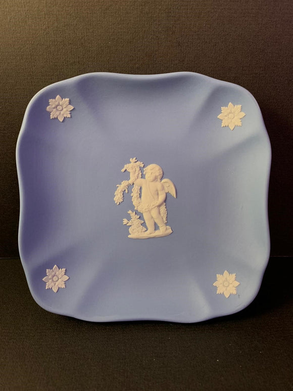 Duo Color Matte Finished Pale Blue and White Jasperware Fluted Square Tray with Scalloped Edges