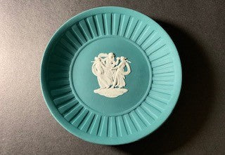 Duo Color Matte Finished Teal Green and White Jasperware Round Shaped Pin Tray with Fluted Rim Complemented with a Raised Border