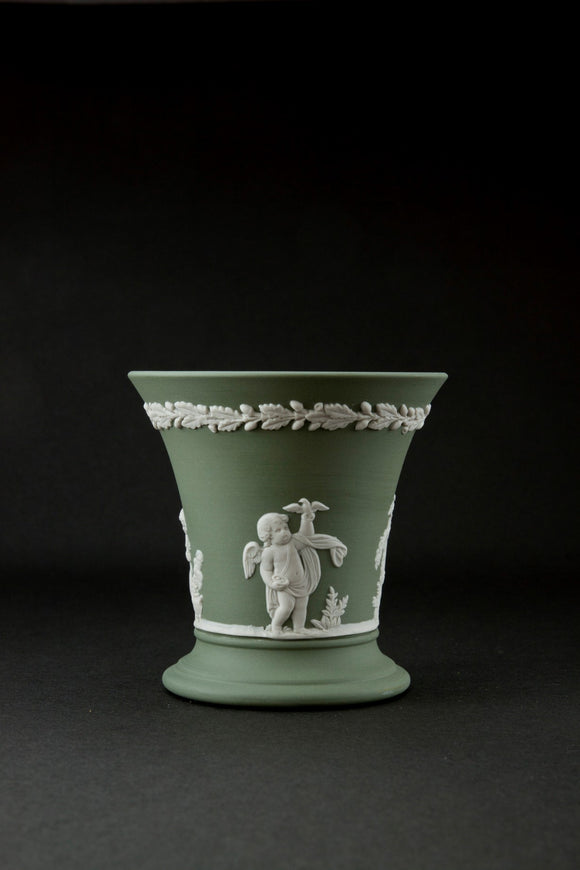 Duo Color Matte Finished Sage Green Jasperware Trumpet Vase
