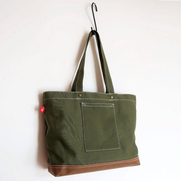 4-Pocket Canvas & W. Kraft Paper Totebag 帆布+洗水牛皮紙托特四袋手提袋