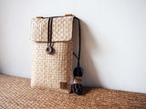White Brown Grass Woven Baguette/Cross Body Bag/Phone Pouch 啡白草織手作斜背包+手機套