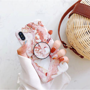 Marble Holder Bracket soft case cover for Apple iphone X 8 7 6S plus stand ring Holder Phone Cases