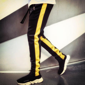 DaDa Black Yellow D-Panelled Pants (Brass Zips)