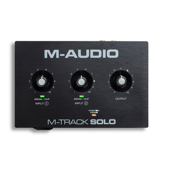 M-Audio - M-Track Solo 48-KHz, 2-channel USB Audio Interface with 1 Crystal Preamp, Phantom Power and Instrument Input
