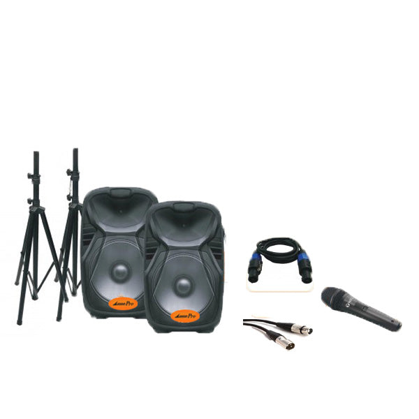 Lane Partybox 15 - Two-Way Powered & Two-Way Passive DJ Speaker System Kit