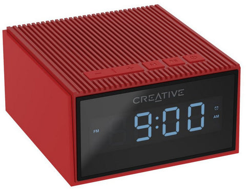 Creative Chrono - Portable Splash-proof Bluetooth Speaker and FM Radio Clock (Red)