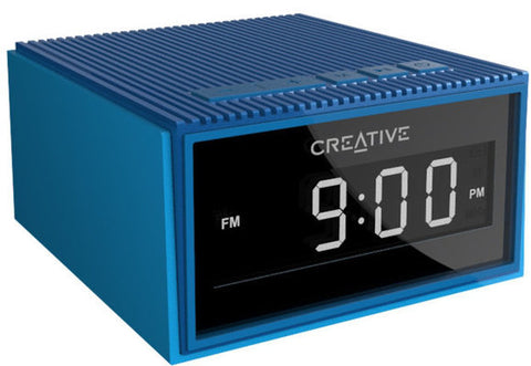 Creative Chrono - Portable Splash-proof Bluetooth Speaker and FM Radio Clock (Blue)