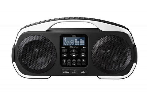 S Digital Splash IPX4 Water Resistant BT Wireless Portable Radio with USB Powerbank - Black/White