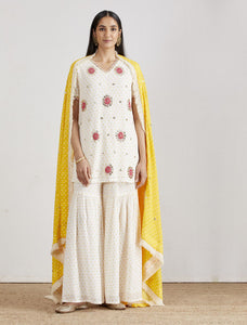 IVORY & YELLOW CRUSHED GHARARA SET