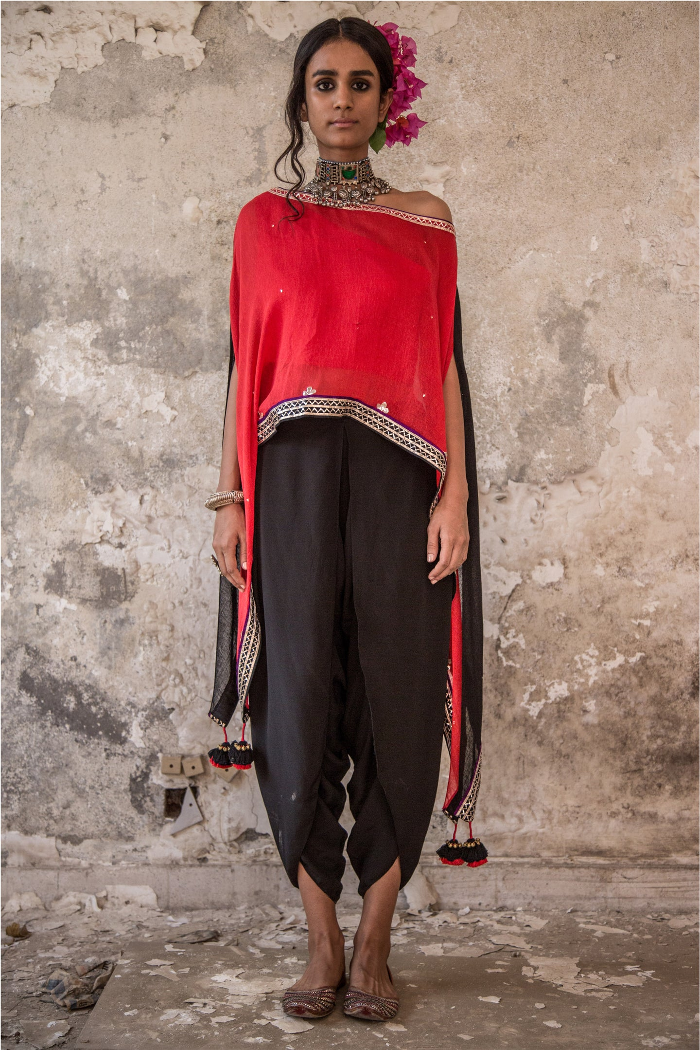 RED EMBROIDERED CAPE & DHOTI PANTS SET