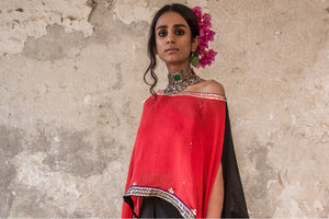 BLACK AND RED CAPE & DHOTI SET