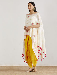 IVORY EMBROIDERED CAPE & DHOTI PANTS