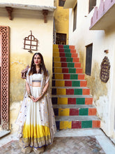 Load image into Gallery viewer, IVORY & YELLOW EMBROIDERED LEHENGA SET