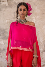 Load image into Gallery viewer, PINK EMBROIDERED CAPE & DHOTI PANTS SET