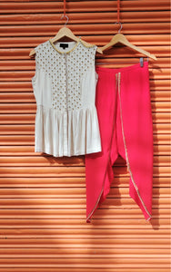 FISH SCALE PEPLUM & DHOTI SET